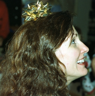 Trish with bow on her head xmas 96 copy