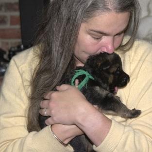 B with puppy Akhen 3 weeks